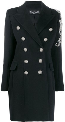 Balmain bead-embellished double-breasted coat