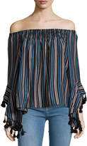 Romeo & Juliet Couture Off-the-Shoulder Striped Blouse, Black Pattern