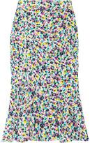Nina Ricci Floral-print ruched silk skirt