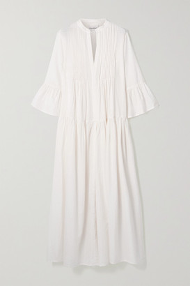 Evarae Katia Tiered Pintucked Cotton And Silk-blend Maxi Dress - White