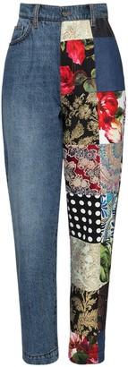Dolce & Gabbana Cotton Denim Jeans W/ Patchwork Details
