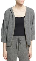 Agnona Cashmere-Wool Cropped Zip-Front Hoodie, Charcoal