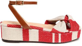 Castaner Angela Leather-trimmed Striped Canvas Platform Sandals