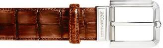 Pakerson Fiesole Wood Alligator Leather Belt w/ Silver Buckle