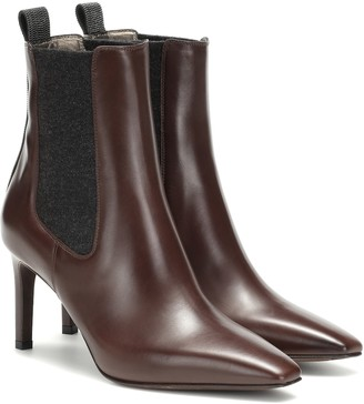 Brunello Cucinelli Leather and cashmere ankle boots