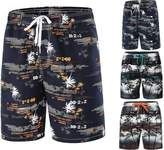 INIBUD Swim Trunks Men's Quick Dry Lightweight Breathable Colorful Printed Beach Board Shorts