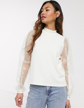 Pieces high neck t-shirt with puff organza sleeves in cream