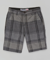Micros Black Plaid Shorts - Boys
