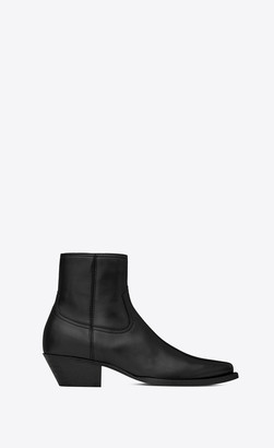 Saint Laurent Lukas Boots In Leather Black 10