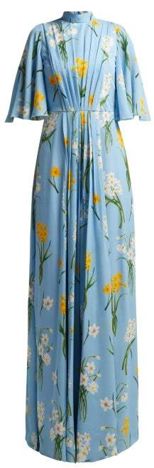 Andrew Gn Narcissus Print Silk Crepe Dress - Womens - Blue Multi