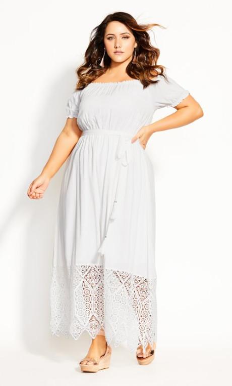City Chic Angelic Maxi Dress - ivory