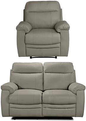 Argos Home Paolo Chair & 2 Seater Manual Recliner Sofa -Grey