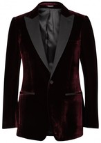 Alexander Mcqueen Bordeaux Velvet Tuxedo Jacket