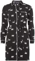 Monochrome Swan Print Piped Shirt Dress