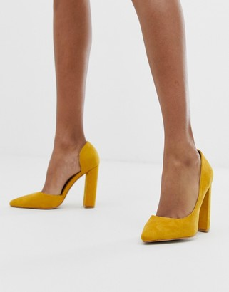 Public Desire Prinny yellow suede block heeled shoes