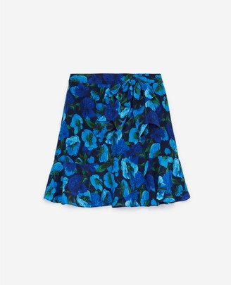 The Kooples Printed short silk skirt with frills