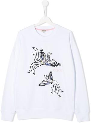 Kenzo TEEN embroidered bird sweatshirt
