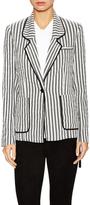 Piped Striped Drawstring Blazer