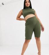 Lasula Plus lounge shorts co ord in khaki