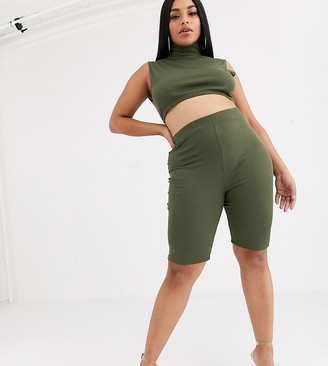Lasula Plus lounge shorts co ord in khaki