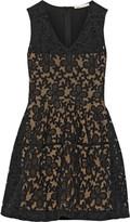 Maje Elvira embroidered organza and cotton-blend dress