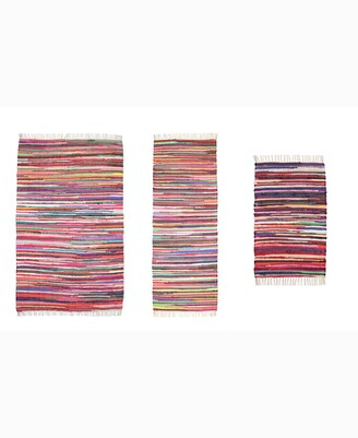 Home Weavers Modern Home Multi Chindi Accent Rug, 3 Piece Set Bedding