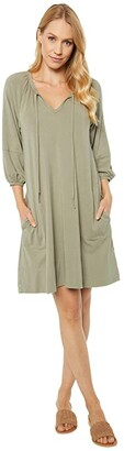 Mod-o-doc Cotton Modal Spandex Jersey Tie Front Swingy Peasant Dress (Cactus) Women's Clothing