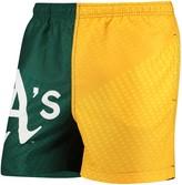 Trunks Unbranded Men's Green/Yellow Oakland Athletics Color Block Swim