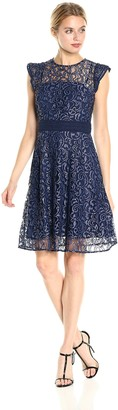 Rachel Roy Women's Ruffle Sleeve Lace Fit and Flare