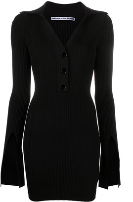 Alexander Wang Split-Sleeve Rib-Knit Mini-Dress