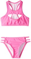Reef Girls' Cove Solid High Neck Halter Bikini Set (714) - 8152296
