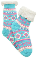 Angelina Blue Fair Isle Fleece-Lined Slipper Socks