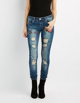 Charlotte Russe Destroyed Patches Skinny Jeans