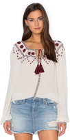 The Kooples Boho Embroidered Off The Shoulder Top