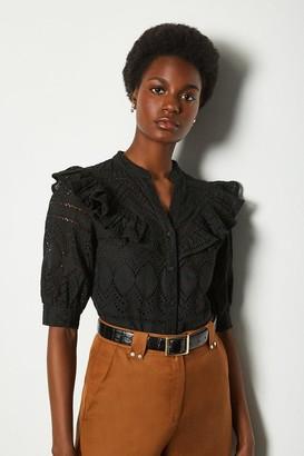 Karen Millen Broderie Short Sleeved Blouse