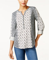 Style&Co. Style & Co Mixed-Print Blouse, Only at Macy's
