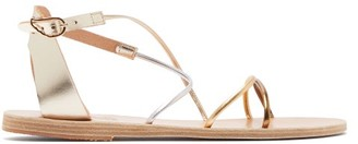 Ancient Greek Sandals Meloivia Metallic Leather Sandals - Womens - Silver Gold