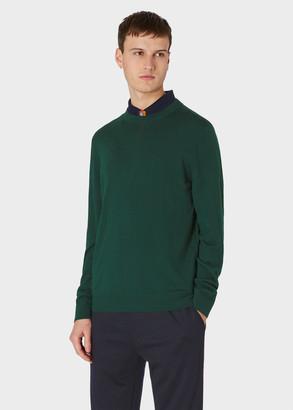 Paul Smith Men's Dark Green Merino Wool Sweater With Collar Details