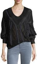 Rag & Bone Lucie V-Neck Pointelle Lacing Sweater