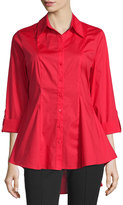 Neiman Marcus 3/4-Sleeve Swing Blouse, Red