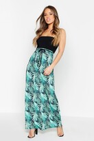 boohoo Petite Palm Print Bandeau Maxi Dress