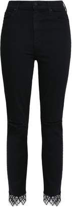 Mother Lace-trimmed Distressed High-rise Skinny Jeans