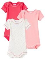 Petit Bateau Set of 3 baby girls short-sleeved bodysuits
