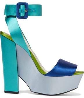 Roger Vivier Color-block Satin Platform Sandals