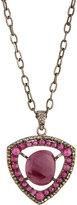 Bavna Composite Ruby & Champagne Diamond Shield Pendant Necklace