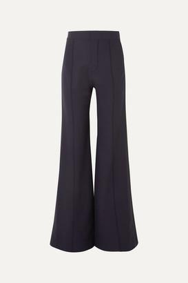 Chloé Satin-trimmed Stretch-wool Wide-leg Pants - Navy