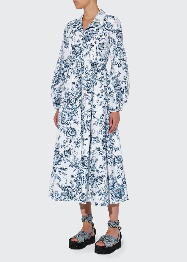 Erdem Kendrick Long-Sleeve Floral Midi Dress