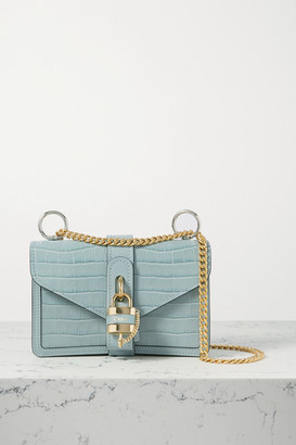 Chloé Aby Chain Small Croc-effect Leather Shoulder Bag - Blue