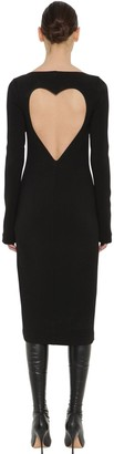Rochas Stretch Virgin Wool Crepe Midi Dress