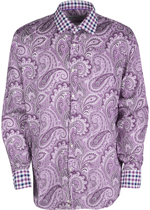 Etro Purple Paisley Printed Cotton Checked Collar and Cuff Detail Long Sleeve Shirt M